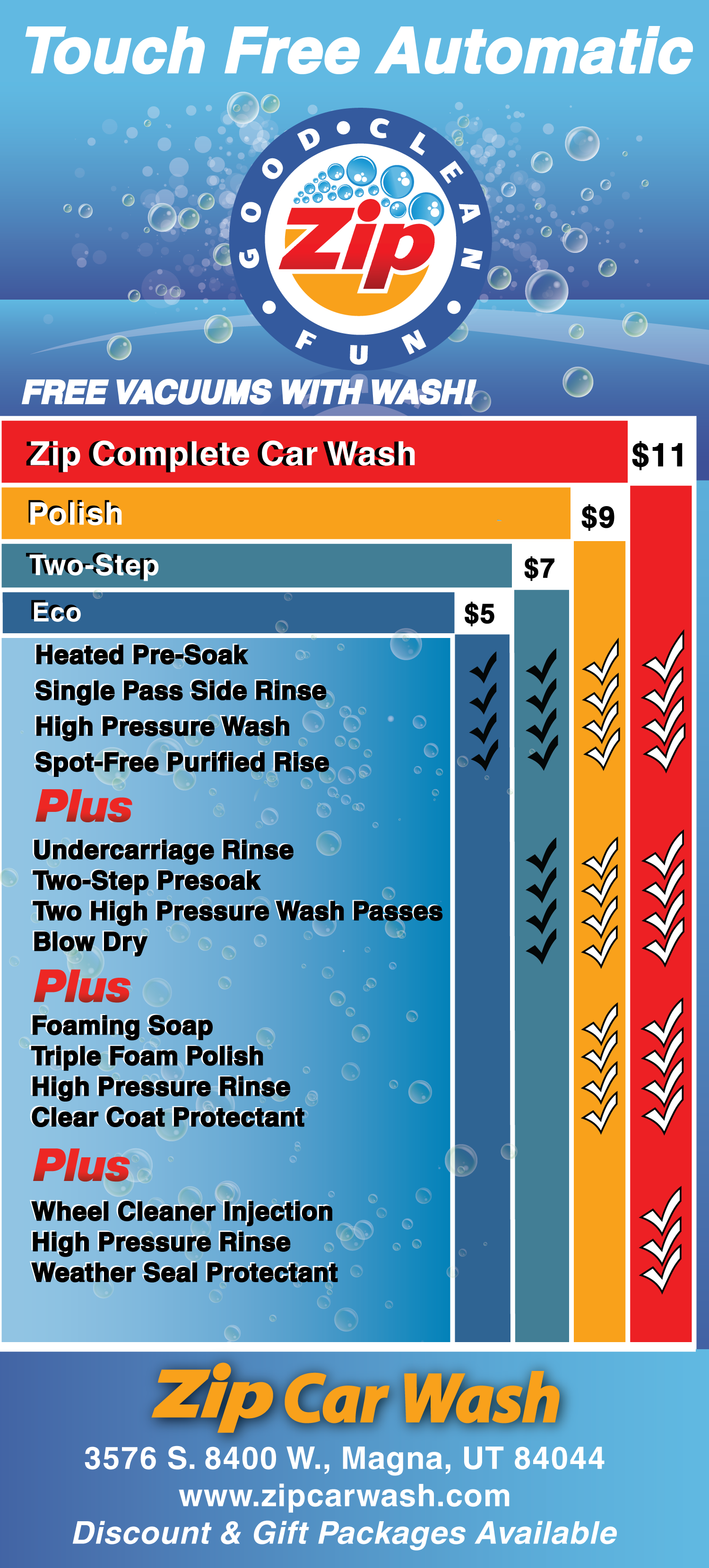 Wash Menu Zip Car Wash Good Clean Fun Wash In Utah